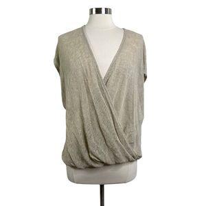 Eileen Fisher Tan Linen Wrap Top
